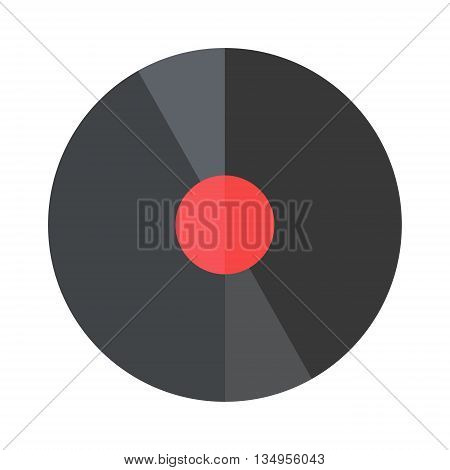 Vinyl record lp album disc. Isolated long play vinyl disc with blank orange label. Vector vinyl disc old record black album disco label. Entertainment track play disk. Musical scratch equipment.
