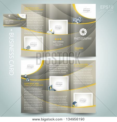 photography brochure design template diaphragm photo camera professional element icons and business card