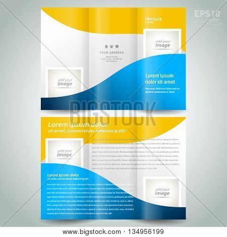 brochure design template geometric abstract curves element color yellow blue frame for images