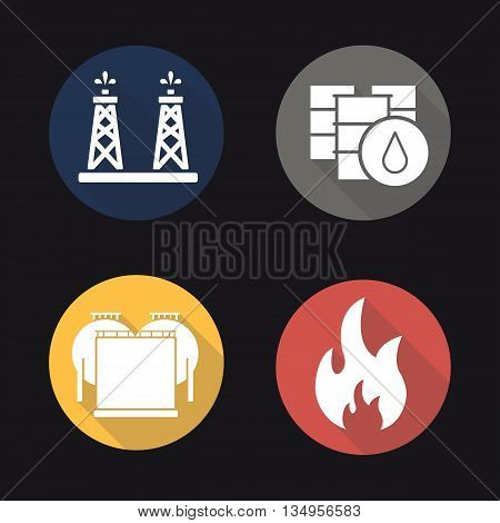Oil industry flat design long shadow icons set. Oil rig, barrels and storage. Flammable sign. Vector symbols
