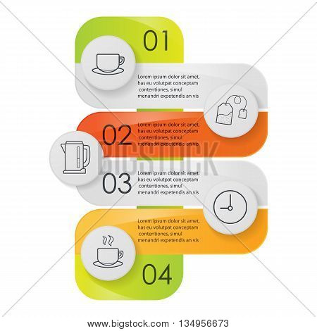Tea infographics. Tea making instruction graphic concept. Vector illustration