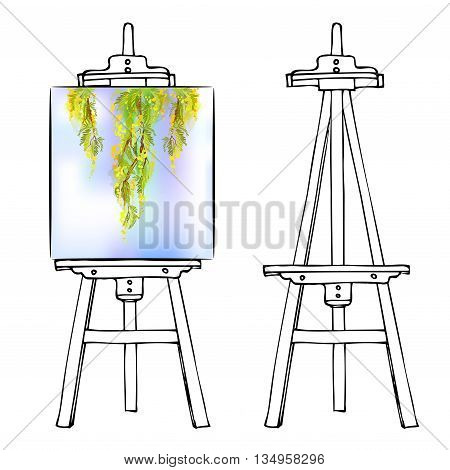 Wooden painting easel with blank canvas. Cartoon black white sketch style easel isolated on white background. Easel with vertical floral picture and empty easel. Vector illustration stock vector