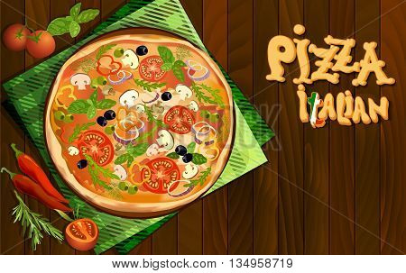 Pizza with mushroom and tomato, chilli, herbs on board on napkin on wooden background. Illustration for pizza menu or pizzeria interior design. Text italian pizza. Vector illustration stock vector.