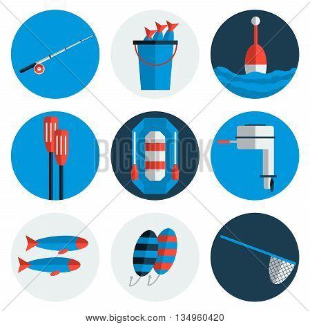 Fishing flat icons. Flat style. Vector illustration, EPS 10