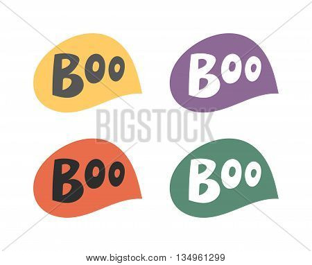 Vector set of cartoon comics boo speech bubble phrases and effects. Boo speech bubble splash scary, comic, art. Boo speech bubble swoosh pop spooky fun vector element funny graphic.