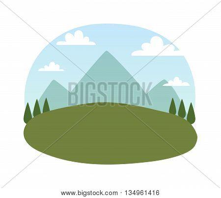 Outdoor landscape nature vector background. Outdoor landscape mountain forest beautiful environment. Summer green outdoor natural park landscape. Scenery summer season adventure.