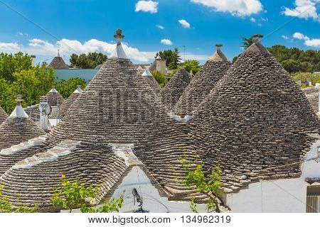 Beautiful roofs of Alberobello with trulli houses main turistic district Apulia region Southern Italy