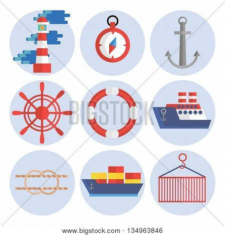 Sea port flat icons set with anchor container ship lifebelt isolated vector illustration