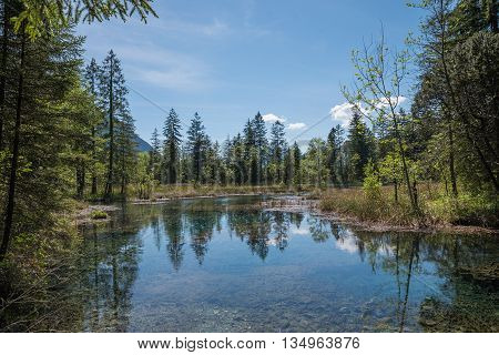 Idyllic Pond With Water Reflection - Natural Fount