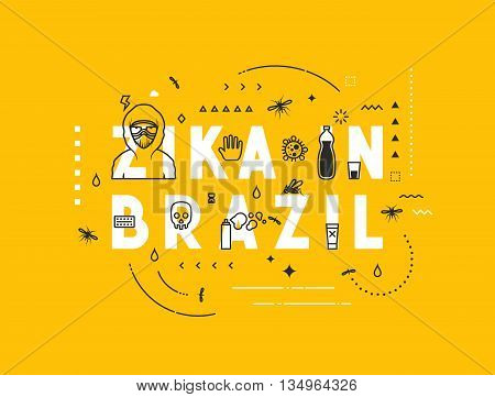 Design concept epidemic of virus zika in Brazil. Modern line style illustration. Concepts of words zika in Brazil, style thin line art, design banners for website and mobile website. Easy to edit. poster