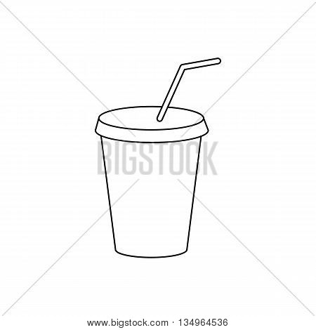 A soft drink in paper cup with lid and straw icon in outline style on a white background