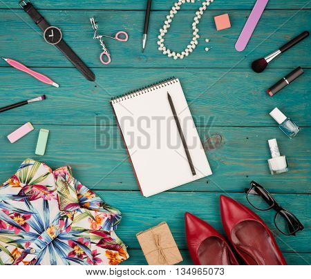 Trip Concept - Set Of Woman Stuff On Blue Wooden Background, Essentials, Accessories