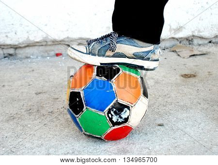 picture of a soccer ball colorful old ragged