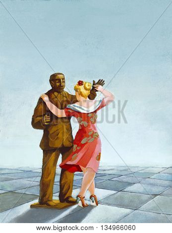 A woman dances with a bronze statue