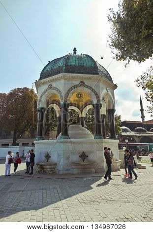 ISTANBUL,TURKEY - OCTOBER 2, 2014: German Fountain from Sultanahmet Square. Istanbul, Turkey.