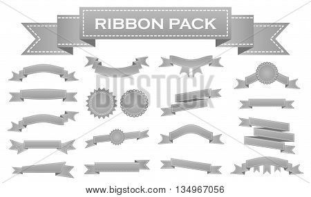 Embroidered silver ribbons and stumps pack isolated on white. Can be used for banner, award, sale, icon, logo, label etc. Vector illustration