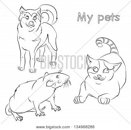 black and white image of a cat, rat and dog- suitable for a child's coloring, and not only. For your convenience, each significant element is in a separate layer.