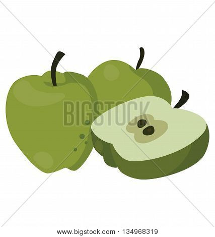 Still life of three juicy green apples, for flat style icons. For your convenience, each significant element is in a separate layer