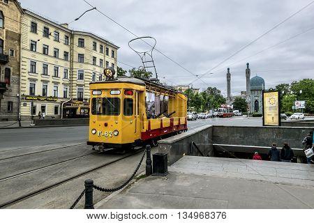 may 27 2016. Saint-Petersburg.Vintage tram on Kamennoostrovsky prospect Saint Petersburg. Russia.