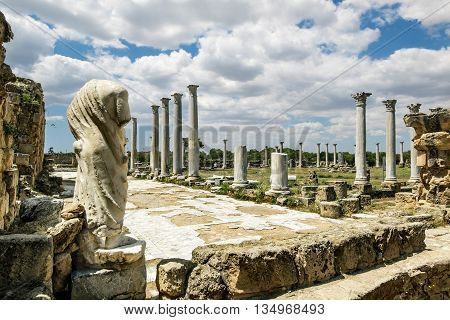 May 24 2016.Famagusta.Ruins and antique statues in the ancient city of Salamis in Famagusta.Northern Cyprus.