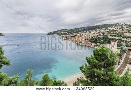 France, Nice, Cote d'Azur - Wide angle on Villafranca Marittima