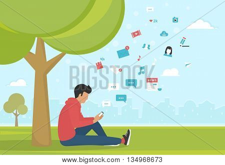 Young man sitting in the park under a tree and texting messages using smartphone. Flat modern illustration of social networking, searching and sending email and texting to friends in social networks