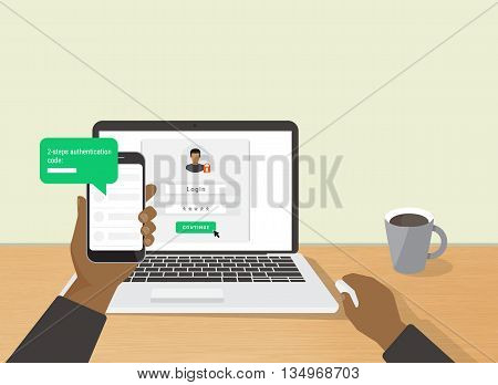 2 steps authentication concept flat illustration of human hand holds smartphone and have a message with id verification code. African man sitting at desktop and getting access to the website