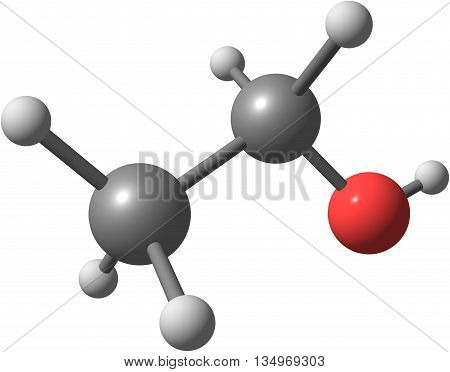 Ethanol or alcohol ethyl alcohol and drinking alcohol is the principal type of alcohol found in alcoholic beverages. 3d illustration