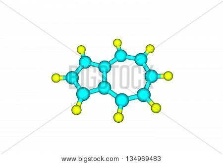 Azulene is an organic compound and an isomer of naphthalene. Whereas naphthalene is colourless azulene is dark blue. 3d illustration