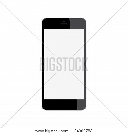 Realistic mobile phone with blank screen isolated on white background. Vector eps10 illustration