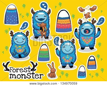 Vector sticker set with cute monsters and bright imaginary characters design elements. Emotions monsters.