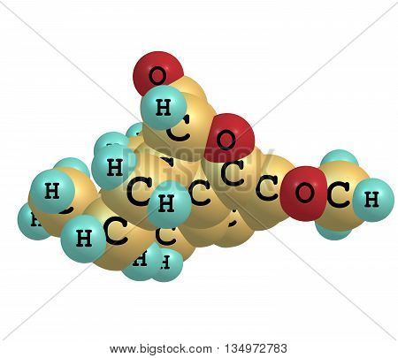 Hydrocodone is a semi-synthetic opioid derived from codeine. 3d illustration