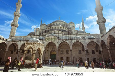 ISTANBUL TURKEY - OCTOBER 2 2014: Courtyard of Blue Mosque Sultanahmet Camii in Istanbul Turkey