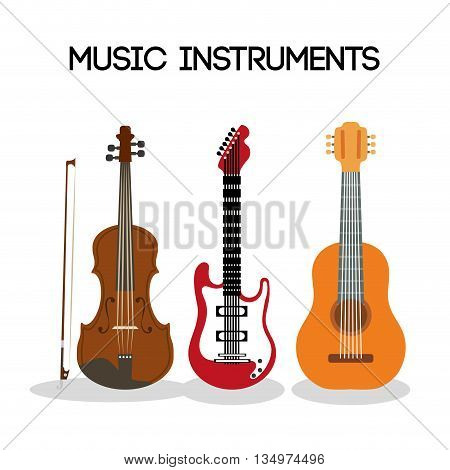 Music instrument concept represented by guitar and cello  icon over flat and isolated background