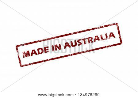 Made in Australia Red Grunge Stamp Isolated On White Background.square stamp.stamp.