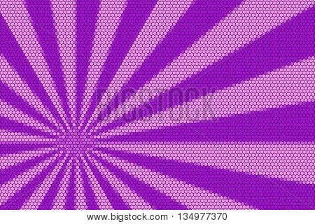 Pink and purple rays from the corner with hexagonal pattern