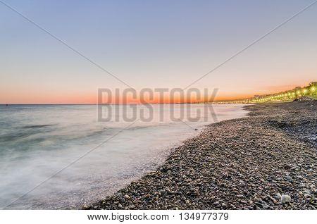 France, Nice, Cote d'Azur - Sunset on the beach