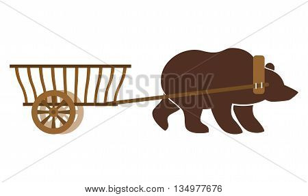 Russian Wain And Bear. Traditional Carriage In Russia. National Folk Transport. Drawn By Wild Beast