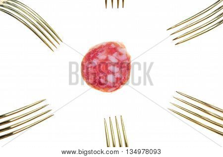 a slice of salami sausage and many vintage silver and golden forks poster