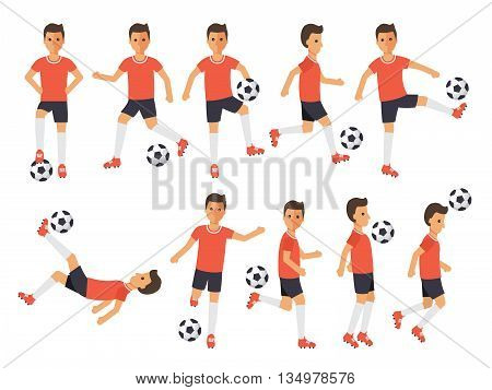 Soccer sport athletes football players playing kicking training and practicing football. Flat design characters.