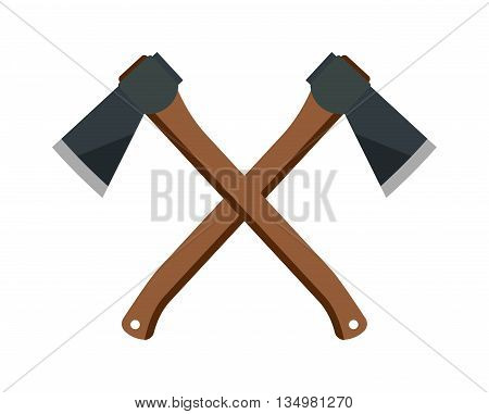 Axe steel isolated and sharp axe cartoon weapon icon isolated on white