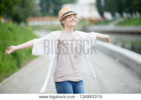 Happy Beautiful Caucasian Woman In Summer Feeling Joyful Outdoors