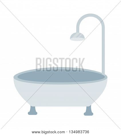 Luxury white flat rim top bath isolated on white background.