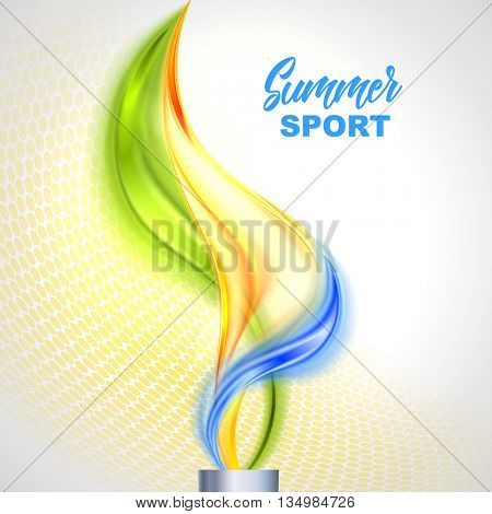 Torch with flame in colors of the Brazilian flag. Brazil Carnival. Vector illustration
