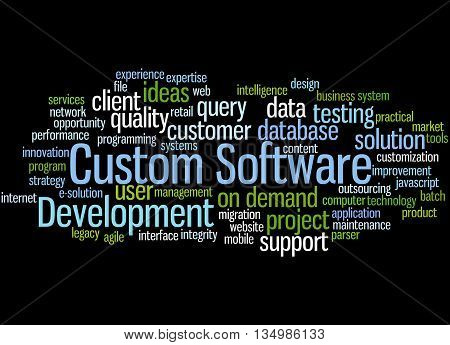 Custom Software Development, Word Cloud Concept 6