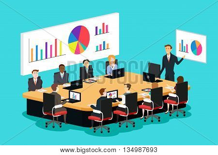 A vector illustration of meeting room scene