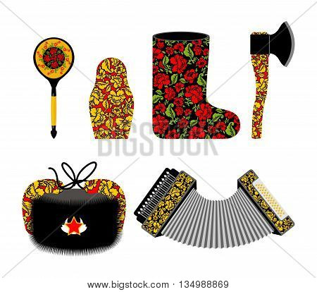 Russian souvenir set Khokhloma painting. Russia traditional national symbols. Spoon and matryoshka. Decorative Valenok and painted axe. Earflaps hat and harmonica accordion poster