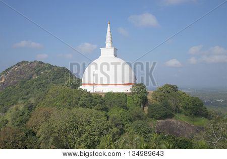 View of the stupa Dagoba Mahasaya. Mihintale, Sri Lanka