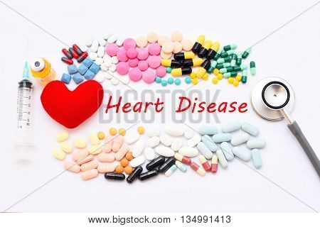 Drugs for heart disease treatment, medical concept