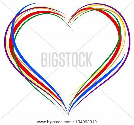 LGBT heart symbol. Sign of heart outline. Rainbow heart for greeting card for Valentines Day. Isolated on white vector illustration
